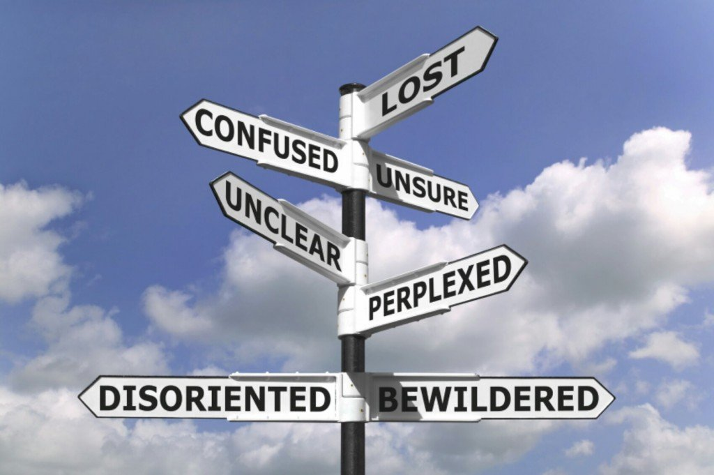 Concept image of a lost and confused signpost against a blue cloudy sky.